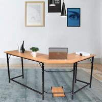 Wood L-Shaped Computer Desk Home Office Laptop PC Table Laptop PC Work Desk