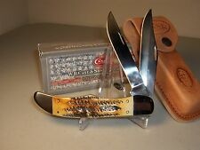 "CASE XX KNIFE- FOLDING HUNTER BURNT BONESTAG  #3574 - WITH SHEATH -5 1/4"" Closed"