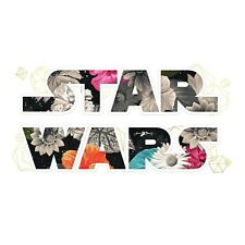 New STAR WARS FLORAL LOGO 2 Wall Decals with Gold Foil Kids Room Quote Stickers