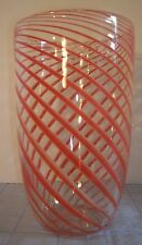 LARGE HAND CRAFTED GLASS CORAL STRIPED SWIRL VASE (B6)