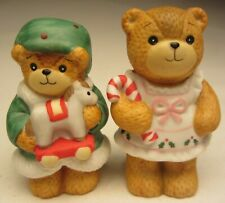 Enesco Lucy and Me Bear Pair Dressed up in Holiday Attire made in 1985 and 1987