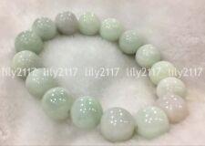 Natural 14mm Light green Emerald Jade Round Gemstone beads Bracelet 7.5'' AAA