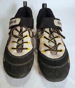 Womans Shimano SPD Cycling Shoes Size 7.5 US Black Tan Suede SH-M037W 2-Bolt