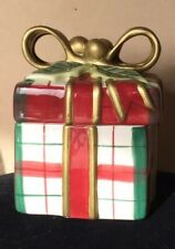 Fitz & Floyd Essentials Christmas Gift Trinket Box Holiday Ribbon Red & Green