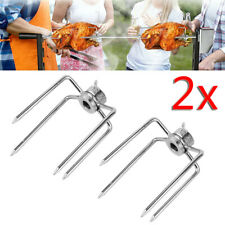 2x BBQ Meat Fork Cleat Grill Spit Carne griglia Girarrosto Spiedo Forcelle Ganci