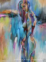CHOP56 abstract colorful girl 100% hand-painted oil painting wall art canvas
