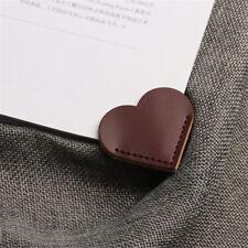 2pcs Love Heart Design Leather Bookmark Vintage Paper Clip Paper Book Clip
