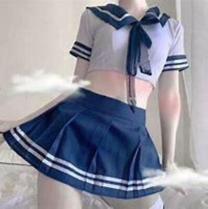 Sexy Cosplay sissy gay bi Lingerie school girl Ladies Erotic Costume Dress Women