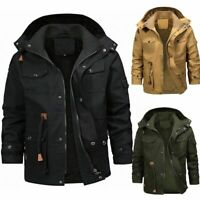 Mens Winter Warm Thick Fur Lined Jacket Zipper Hooded Bomber Military Parka Coat