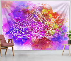 Watercolor Colorful Mandala Flower Tapestry Wall Hanging Home Bedspread Cover