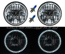 "7"" SMD White LED Halo Angel Eye H4 Headlamp Headlight Halogen Light Bulb Pair"
