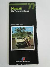 UNITED AIR LINES Hawaii Fly Drive Vacations Oahu Kauai Maui tours package 1977