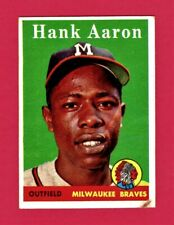 Hank Aaron 1958 Topps Baseball Card #30 Braves - Great Set Filler - No Creases