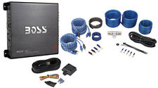 Boss R2504 1000 Watt 4-Channel Car Audio Power Amplifier+8 Gauge Amp Kit