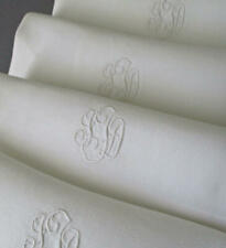 "12 FRENCH Damask LINEN 24"" NAPKINS * Hand Embroidered Monograms ~ Fil de Lin"