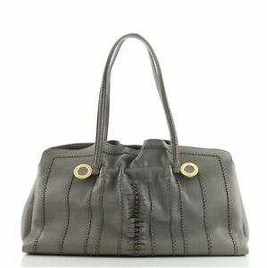 Bvlgari Pleated Tote Stitched Leather Large