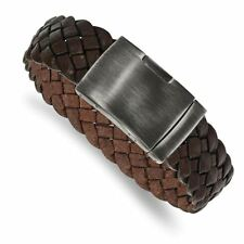 Brushed Brown Braided Leather Bracelet Chisel Stainless Steel Antiqued and