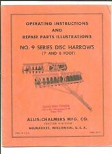 Allis Chalmers No 9 Series Disc Harrows Operating Instructions Manual