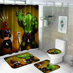 Hulk Spiderman Bathroom Rugs Set 4PCS Shower Curtain Non-Slip Toilet Lid Cover