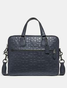 Coach Bleecker 32210 Hudson 5 Bag Signature Leather Midnight Navy/Black