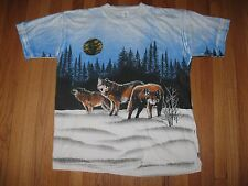 Vtg 90s Wolf Bear Tie Dye Tribal Hunting Fishing T-shirt Mens XL **MINT**