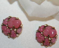 MEANINGFUL AND RARE FRUIT SALAD OR BUBBLE GUM PINK TRIFARI EARRINGS EXCELLENT!!!