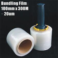 2x Bundling Film 100mm x 300m 20um Clear Stretch Wrap Pallet Wrapping+ Dispenser