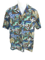 Kona Coast Hawaii Men's Hawaiian Aloha Surfer Wipeout Cotton Shirt Size M
