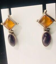 Sterling Silver Amethyst Cobochon Amber Yellow Dangle Hinge Post Earrings LB 925