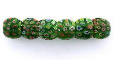 EMERALD GREEN MULTI COLOR FLORAL FLOWER MILLEFIORI GLASS STRETCH BRACELET mb4
