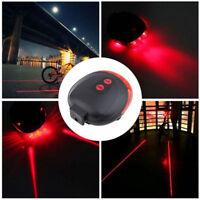 2 Laser +5 LED Cycling Bicycle Bike Tail Light Rear Safety Warning Flashing Lamp
