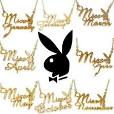 Playboy Necklace Bunny Pendant Gold Plated Playmate of the MISS MONTH Birthstone