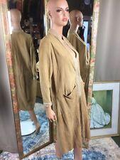 Vintage 1960s Bonnie Cashin Sills Suede Leather Dress Deep Neckline Sz M/L Rare