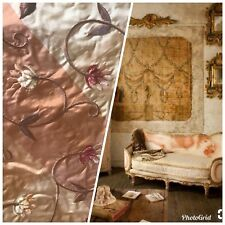 NEW SALE! Designer 100% Silk Taffeta Interior Design Fabric - Embroidery -Pink