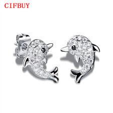 CIFBUY Frauen Cute Dolphin Stud Ohrring Gold / Silber Farbe Kubikzircon Schmuck