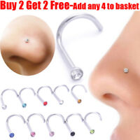 Nose Stud Pin Surgical Steel Small Gem Crystal Screw Nose Piercing Stud Pin