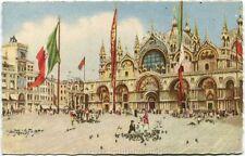 Primi 1900 Venezia - Chiesa San Marco Torre Orologio Bandiere in Piazza FP COL