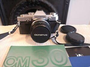 Olympus OM30 SLR Film Camera With Zuiko Auto-S 1.8 50mm Lens Vintage