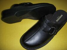 Clarks Patty Lorene Leather Slip-On Clogs Mules Shoes Women's 8 W Black 8W
