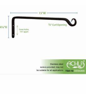 15 in. Black Powder Coat Iron Straight Up Curled Wall Bracket Hook TSH10, Achla