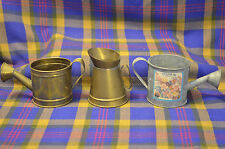 Group of 3 Miniature HOSLEY Brass &Galvanized Steel Watering Cans-India