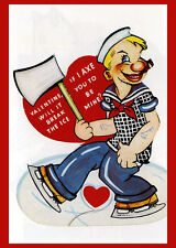 Vintage Valentine Postcard Poster Reproduction Popeye Axe Ice Break My 14x18 New