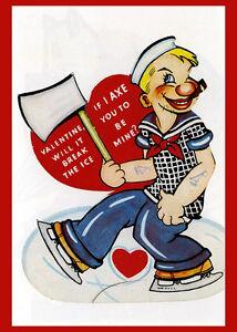 Vintage Valentine Postcard Poster Reproduction Popeye Axe Ice Break My 14x18 New