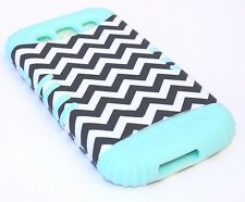 Samsung Galaxy S3 Siii- HARD & SOFT RUBBER CASE HYBRID MINT BLUE BLACK CHEVRON