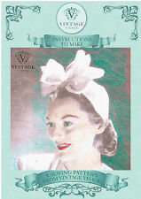 Vintage sewing pattern-how to make unusual stylish 1940s bow hat-easy to make