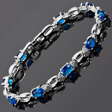Oval Blue Sapphire Zirconia CZ Tennis Bracelet White Gold Filled Gift 7.25""