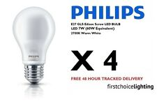 4 x Philips 7W (60W) E27 ES Edison SCREW LED LAMPADE LAMPADINE 2700K WARM WHITE