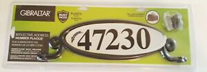 GIBRALTAR Black Reflective Address Number Plaque Kit Self-Adhesive Numbers NEW