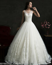 Vintage Lace White Ivory Princess Wedding Dress Bridal Ball Gown Custom Size