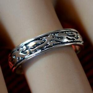 SILVER second hand fancy cut band ring